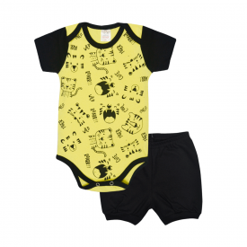 conjunto bebe body e shorts pagao envelope roar preto e amarelo lmol baby