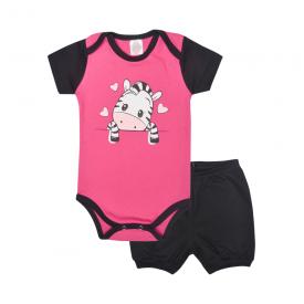 conjunto bebe body e shorts pagao envelope zebra preto e pink lmol baby